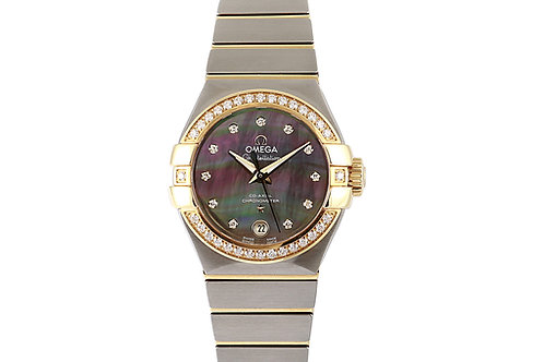 Omega Constellation Rose Gold and Steel Mother of Pearl Diamond Dial 27mm