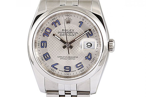 """Rolex Datejust Silver """"Decorated"""" Dial 36mm Steel"""