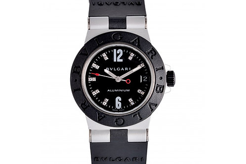 Bvlgari Diagono Black Dial With Diamonds 34mm Aluminium