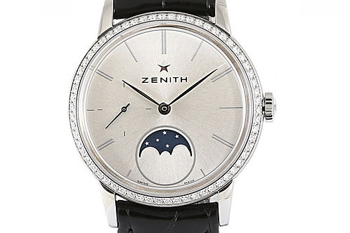 Zenith Elite Ultra Thin Moonphase Silver Dial 33mm Steel & Diamonds