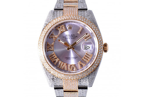 Rolex Datejust Pink Roman Dial with Diamonds 41mm Steel, Yellow Gold & Diamonds