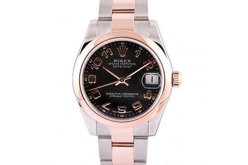 Rolex Datejust Black Dial 31mm Steel & Rose Gold