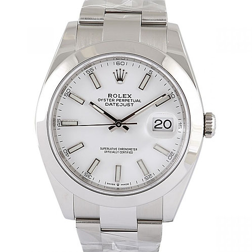 Rolex Datejust White Index Dial 41mm Steel