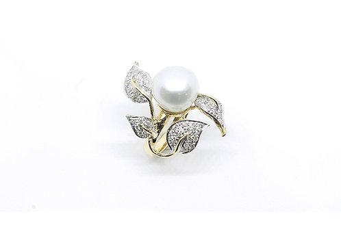 South Sea Pearl Diamond Leaf Ring