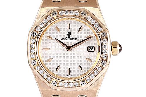 Audemars Piguet Royal Oak Ladies Rose Gold Diamond Bezel 33mm