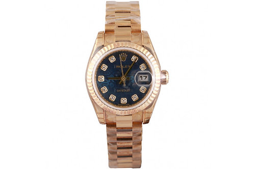 Rolex Lady-Datejust Yellow Gold & Blue Jubilee Diamond Dial