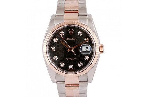 Rolex Datejust Black Jubilee Diamond Dial 36mm Steel & Rose Gold