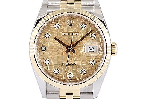 Rolex Datejust 36mm Steel & Yellow Gold Champagne Computer Diamond Dial