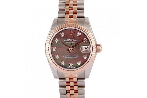 Rolex Datejust Black Mother of Pearl Diamond Dial 31mm Steel & Rose Gold