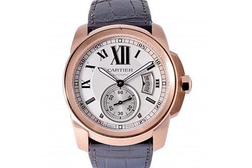 Cartier Calibre De Silver Roman Dial 42mm Rose Gold