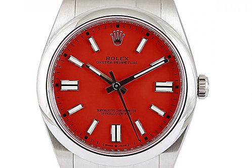 Rolex Oyster Perpetual Coral Red Dial 41mm Steel