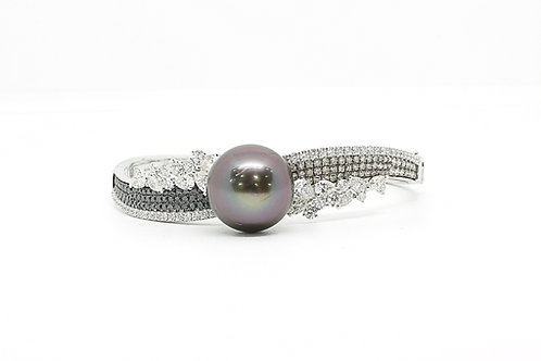 Gold with Fancy Diamonds and Pearl Bangle