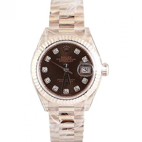 Rolex Datejust Chocolate Diamond Dial 28mm Rose Gold
