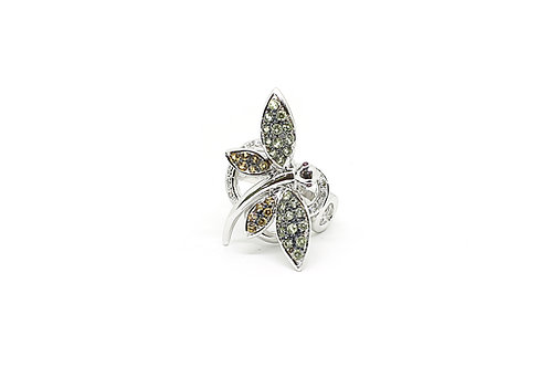 Butterfly Design Diamonds and Color Stone Ring