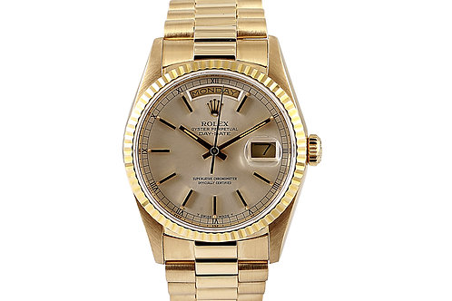 Rolex Day Date Yellow Gold Silver Dial 36mm