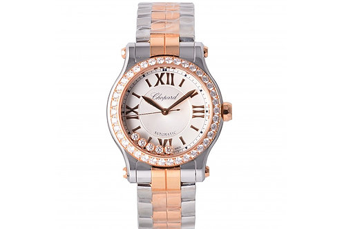 Chopard Happy Sport Silver Dial With Floating Diamonds 36mm Steel, Rose Gold & D