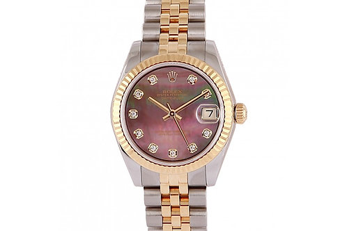 Rolex Datejust Black Mother of Pearl Diamond Dial 31mm Steel & Yellow Gold