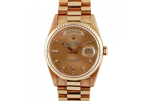 Rolex Day-Date Champagne Diamond Dial 36mm Yellow Gold