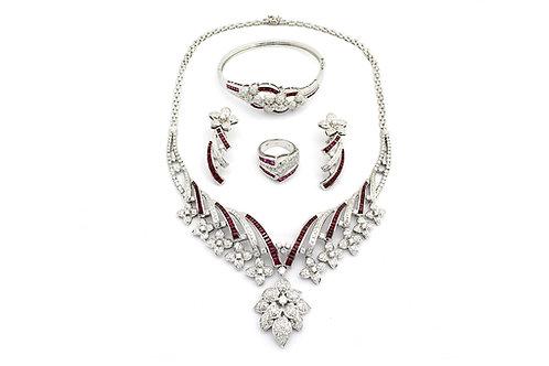 Designer Baguette Cut Ruby with Diamonds White Gold Full Set