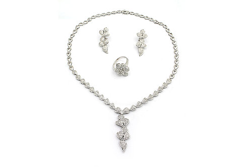 White Gold with Diamonds Necklace, Earring and Ring