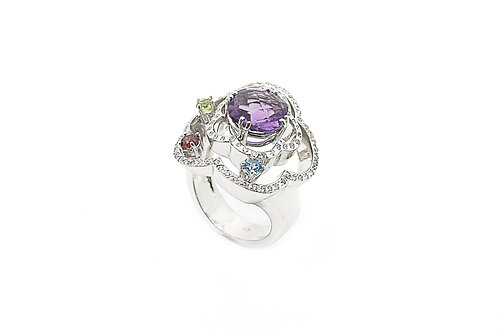 Diamonds, Amethyst  and Color Stone  Gold Ring