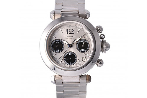 Cartier Pasha Chronograph Silver Dial 35mm Steel