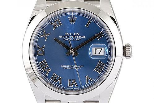 Rolex Datejust Blue Roman Numeral Dial 41mm Steel