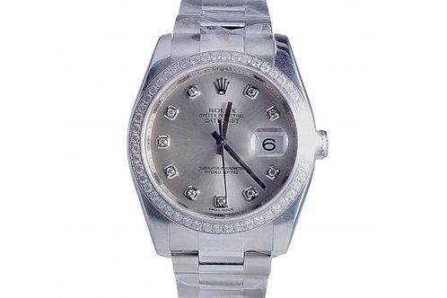 Rolex Datejust Silver Diamond Dial 36mm Steel & Diamonds