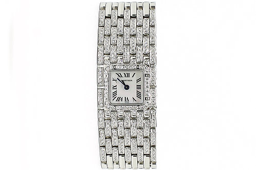 Cartier Panthere Ruban Mother of Pearl Dial Steel with Diamonds 16.8mm