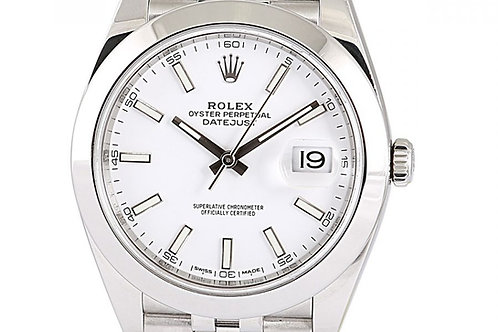 Rolex Datejust White Index Dial Steel 41mm