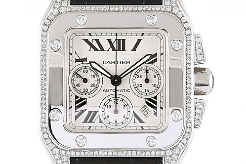 Cartier Santos 100 Chronograph White Dial 41mm