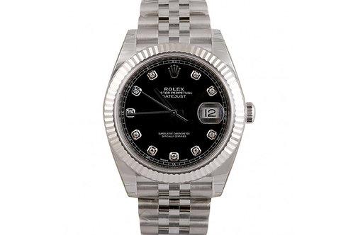 Rolex Datejust 41 Black Diamond Dial Steel & White Gold