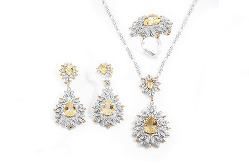 Lemon Quartz and Yellow Diamonds Necklace Earring and Ring
