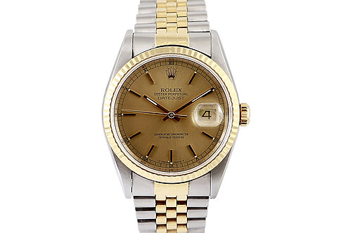 Rolex Datejust Steel and Gold Jubilee Bracelet with Champagne Dial 36mm