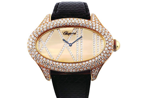Chopard Oval Mother of Pearl Diamond Dial 45.5mm Yellow Gold & Diamonds