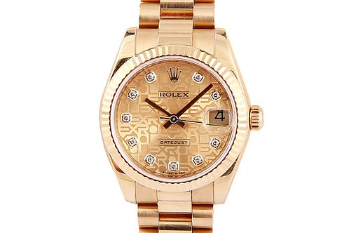 Rolex Datejust President Jubilee Champagne Diamond Dial 31mm Yellow Gold