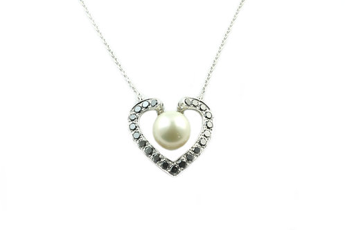 Black Diamond and Pearl Necklace