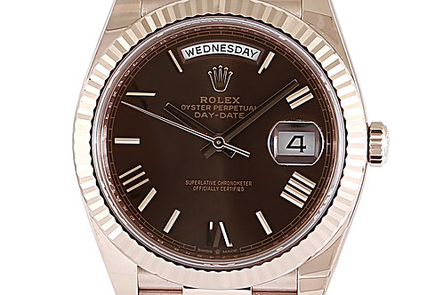 Rolex Day Date 40mm Rose Gold Chocolate Dial