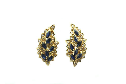 Marquise Cut Sapphire and Diamond Earring