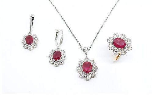 2 Tone Gold with Ruby and Diamond Pendant, Ring and Earring