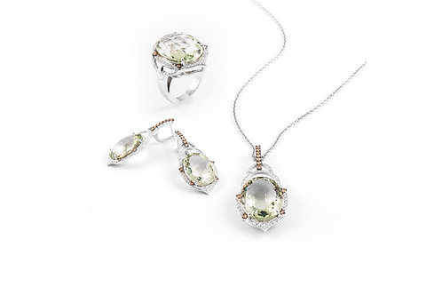Brown Diamond and Green Amethyst Pendant Set