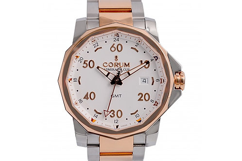 Corum Admirals Cup GMT White Dial 44mm Rose Gold & Steel