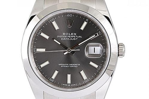 Rolex Datejust Grey Index Dial 41mm Steel
