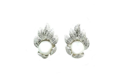Pearl Leaf Diamond Earrings