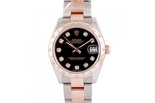 Rolex Datejust Black Diamond Dial 31mm Steel, Rose Gold & Diamonds