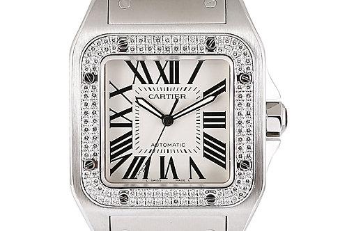 Cartier Santos 100 Aftermarket Diamond Bezel Steel