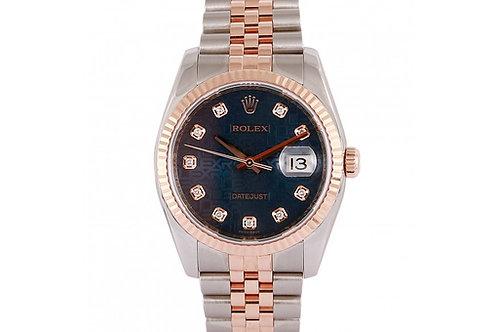 Rolex Datejust Jubilee Blue Diamond Dial 36mm Steel & Rose Gold