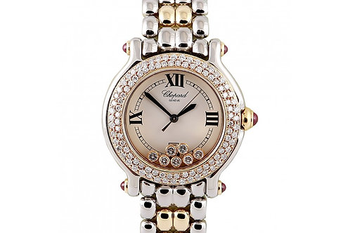 Chopard Happy Sport Round White Dial 26mm Steel, Yellow Gold & Diamonds