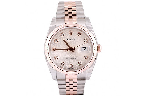 Rolex Datejust Silver Jubilee Dial 36mm Steel & Rose Gold