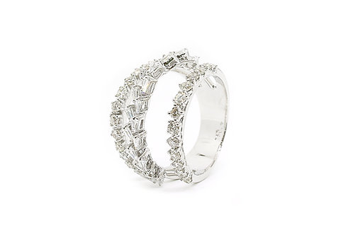 Three Layer Round Brilliant Cut and Baguette Cut Diamond with White Gold Ring